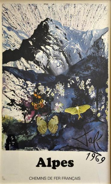 Salvador DALI (1904-1989) Alpes, 1969 Affiche...