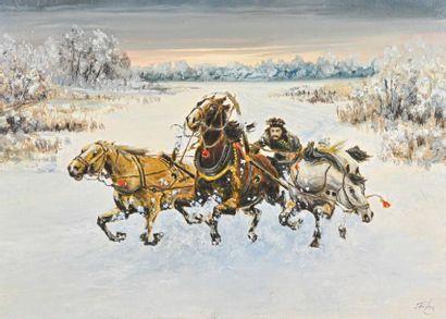 Ecole RUSSE du XXe siècle Troika à trois chevaux Huile sur toile, signée en bas...
