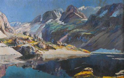 Paul JOUVET (1892-1981) Lac animé en montagne...