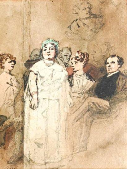 Henri MONNIER (1805-1877) Etude pour une...