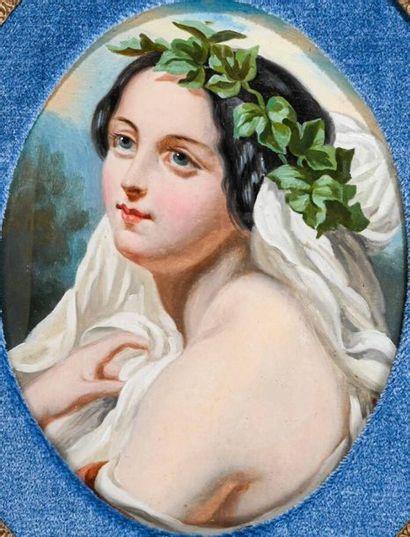 Ecole FRANCAISE du XIXe siècle Portrait de femme Fixé sous verre oval H. 24 cm -...