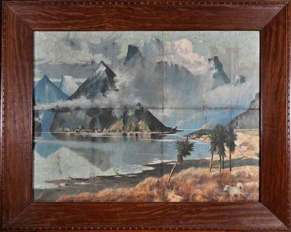 Début du XXe siècle Paysage montagneux animé Huile sur toile, signée en bas à gauche...