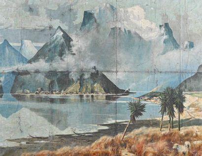 Début du XXe siècle Paysage montagneux animé...