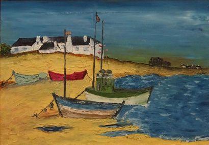 Michel GIRARD (XXe siècle) Bâteaux en Bretagne,...
