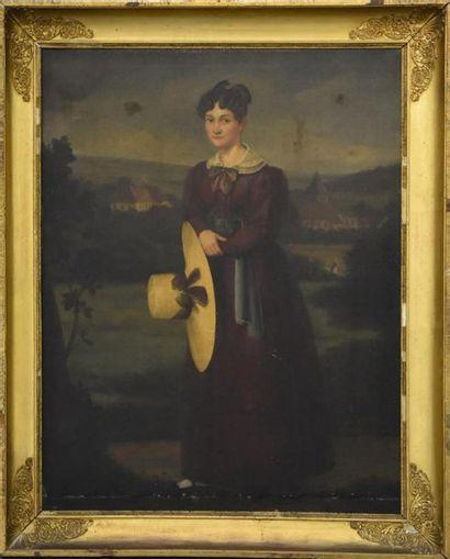 Ecole FRANCAISE du XIXe siècle Dame au chapeau de paille Huile sur toile H. 100...