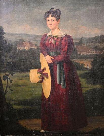 Ecole FRANCAISE du XIXe siècle Dame au chapeau...
