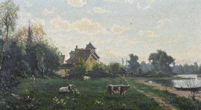 Ecole FRANCAISE du XIXe siècle Ferme près de la rivière Huile sur toile H. 27 cm...