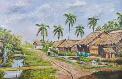 G. OUDOT (XXe siècle) Village vietnamien...