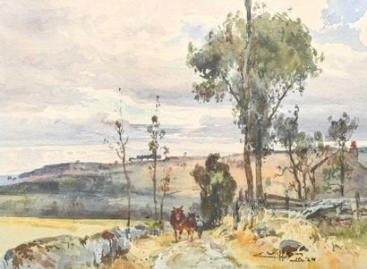 Eugène VILLON (1879-1951) Chevaux dans un chemin Aquarelle, signée et datée en bas...