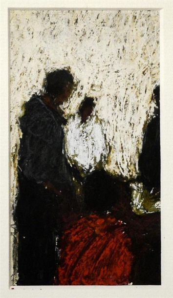 Sophie BURBALOFF (née en 1970) Personnages Pastel, signé en bas à gauche H. 11 cm...