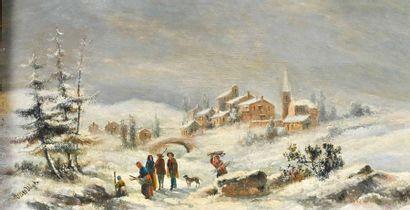 Dans le goût de Henri VAN WYK (1833-?) Les ramasseurs de fagots Huile sur panneau,...