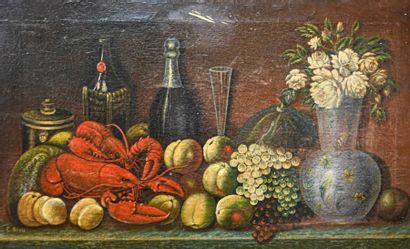 G. NIELS (XIXe siècle) Nature morte aux homards Huile sur toile, signée en bas à...
