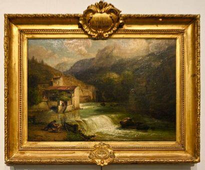 François Edmé RICOIS (1795 - 1881) Moulin et lavandières dans les environs de Thiers...