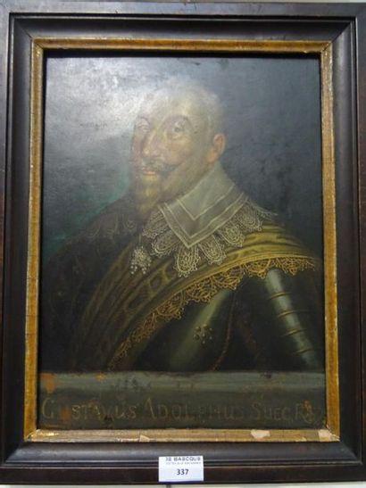 Ecole suédoise XVIIIe - XIXe siècle Portrait de Gustave Adolphe roi de Suède Huile...