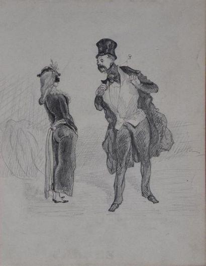 Ecole FRANCAISE du XIXe siècle Vue de ville Crayon H. 33,5 cm - L. 46 cm Rousseurs,...