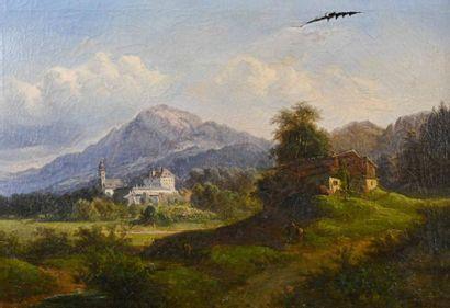 Ecole FRANCAISE du XIXe siècle Paysage animé...