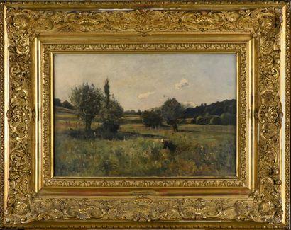 René Ch. de GATINE (1853-1902) Paysage animé...