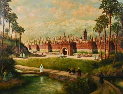 Ecole orientaliste du XIXè siècle Scène animée...