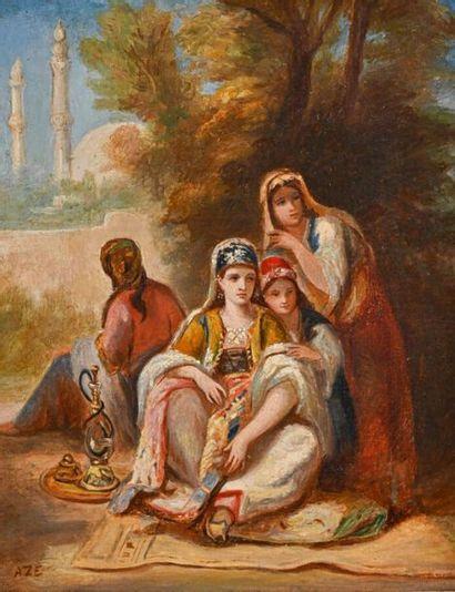 Adolphe AZE (1823-1884) Femmes au narguilé...