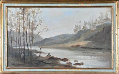 Ecole Française de la fin du XIXème siècle Paysage lacustre animé Huile sur toile,...