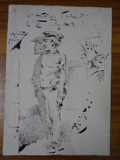 Ecole ITALIENNE de la fin du XIXe siècle Il piantone, caricature Dessin à la plume...