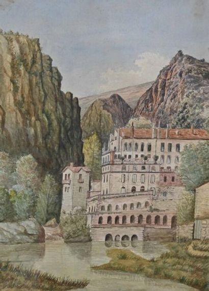 Ada Guder (1857-1937) Refuge en montagne Aquarelle sur papier signée en bas à droite...