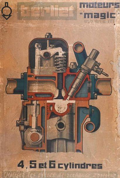 BERLIET Affiche de moteur H. 108 cm - L....