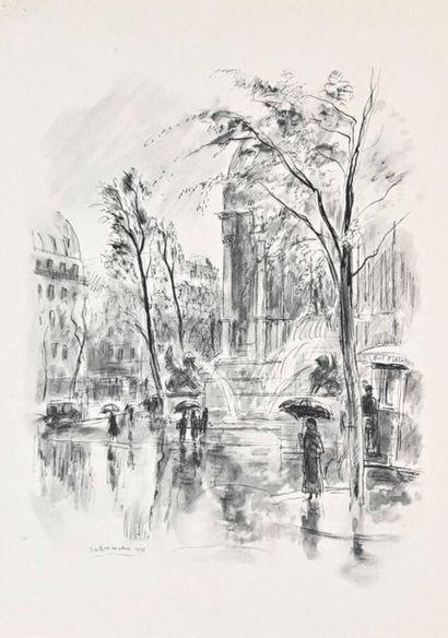 CHARLAIX (début XXe siècle) Etudes de Georges Martin Witkowki Aquarelle et fusain...