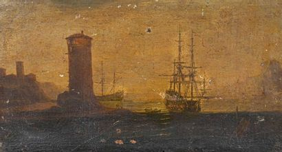 Ecole Française du XIXe siècle Marine Huile...