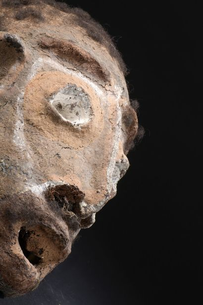 Crâne céphalomorphe, Île de Malekula, Vanuatu  H. 23 cm    L'ensemble du crâne recouvert...