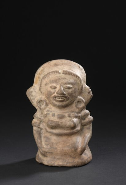 Statuette féminine, Maya du Guatemala Classique 450-650 ap. J.C.  Céramique brune...