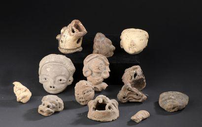 Sept têtes venant de statuettes anthropomorphes...