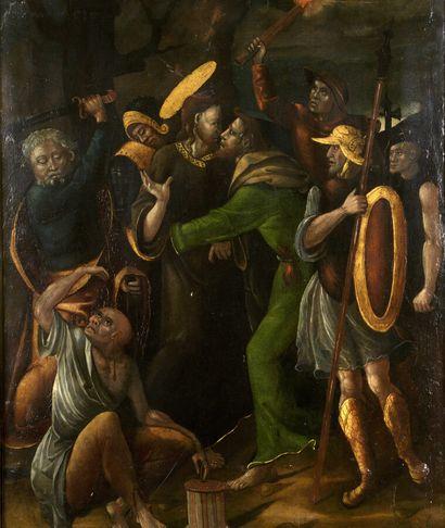 Ecole ESPAGNOLE vers 1550  Le baiser de Judas...