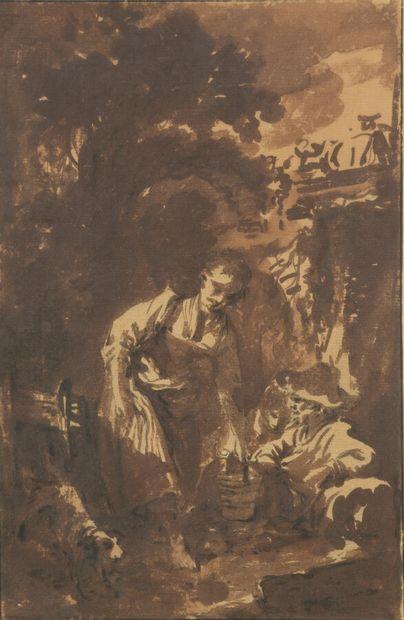 François BOUCHER (1703-1770)  Scène pastorale...