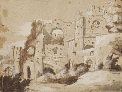 Ecole ITALIENNE du XVIIIème siècle  Feuille...
