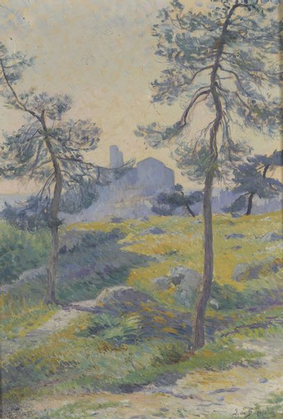Léonie de BAZELAIRE (1857-1926)  Paysage...