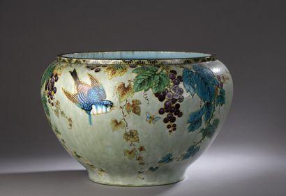 Théodore DECK (1823-1891)  Papillons en vol...