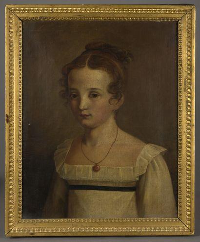 Ecole FRANCAISE vers 1820  Portrait de jeune...