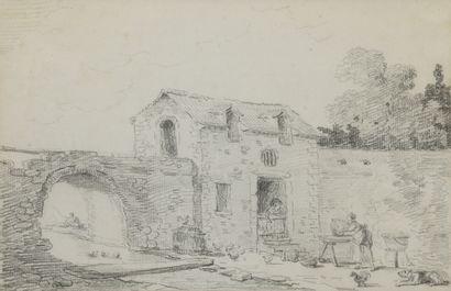 Ecole d'Hubert ROBERT (1733-1808)  Vue animée...