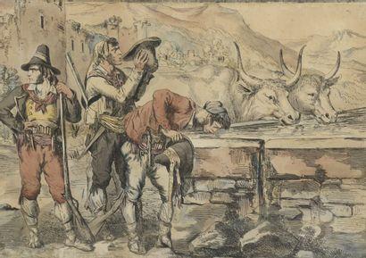 Bartolomeo PINELLI (1781 - 1835)  La halte...