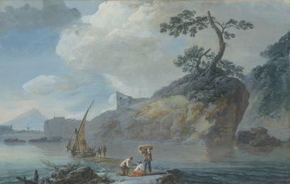 Attribué à Alexandre NOEL (1752 - 1834)  Pêcheurs...