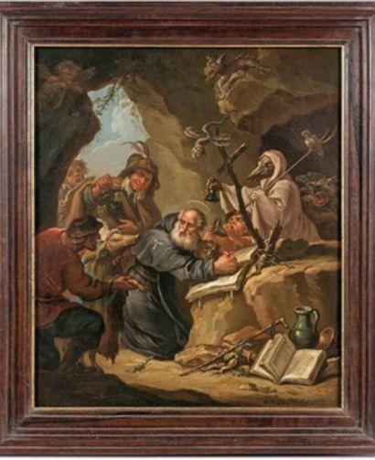Etienne LOYS (1724-1788)  La tentation de Saint Antoine (d'après David Téniers II)...