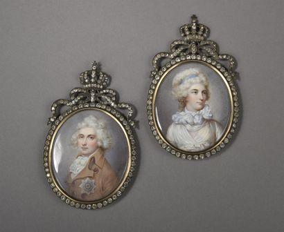 Ecole ANGLAISE du XIXe siècle  Portraits du duc et de la duchesse d'York  Deux miniatures...
