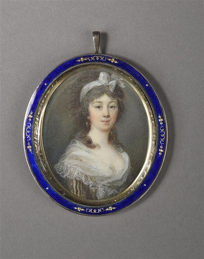 Ecole FRANCAISE vers 1780  Portrait de jeune...