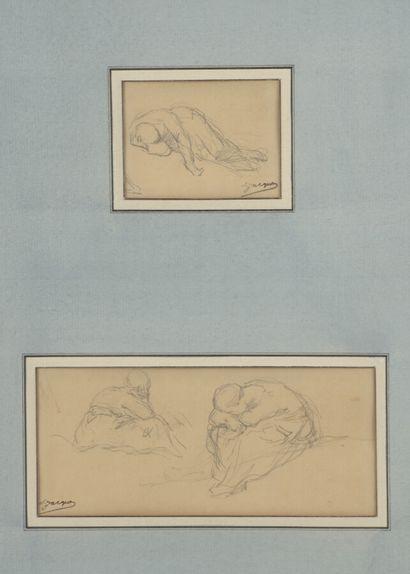 Charles JACQUE (1813-1894)  Personnage allongé...