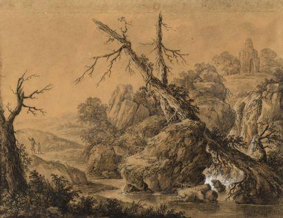 Ecole FRANCAISE du XVIIIe siècle  Paysage...