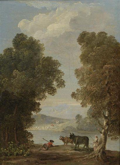 Attribué à Hubert ROBERT (1733 - 1808)  Couples...