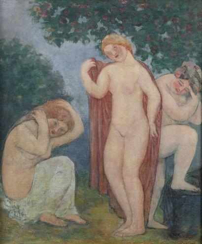 Joseph-Antoine BERNARD (1866-1931)  Les baigneuses  Huile sur toile rentoilée  H....