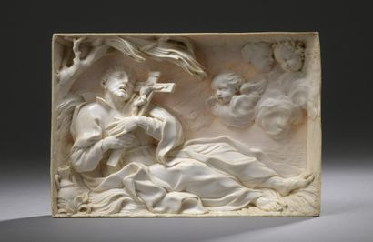 Rome, circa 1676/1685  The death of St. Francis Xavier  Ivory plaque carved in bas-relief...