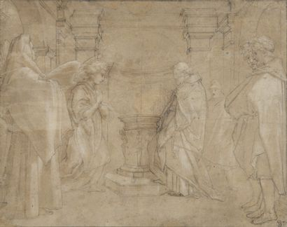 Ecole ITALIENNE du XVIème siècle  L'annonce...